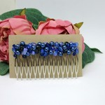 Blue Crystal Glass Wire Wrapped Hair Comb OOAK  by Top Shelf Jewellery
