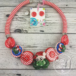Frog Santa- Twisted - Button Fusion Necklace - Button Jewellery - Earrings