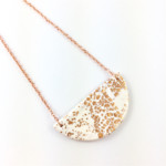 Handcrafted copper leaf polymer clay statement pendant on rose gold plated chain