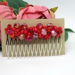 Red Glass Wire Wrapped Hair Comb OOAK  by Top Shelf Jewellery