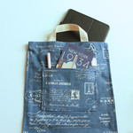 Tote bag in French Blue cotton fabric