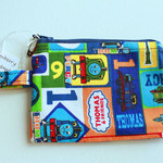 Zip Pouch or coin purse in Thomas the Tank Engine cotton fabric