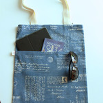 Tote bag in French blue writing fabric