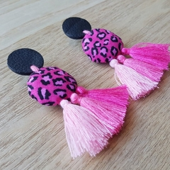 Leather Boho Dangle Earrings Animal Print Ombre Tassels By Tenasee and Teneil