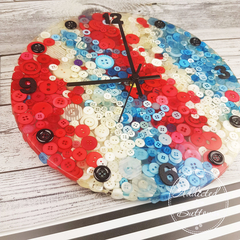 Tick Tock - Red White and Blue Resin clock - silent motion