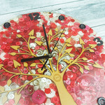 Tick Tock - Natural Tree of Life Red and White Resin Button clock silent motion