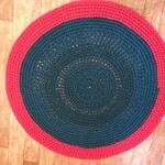 Handmade Crochet Rug in Red and Green 120cm