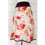 Japanese Cotton Skirt Japanese Fans Skirt Summer Skirt White and Red Skirt