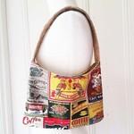 Handbag Coffee Bag Retro Bag Vintage Print Cotton HandBag Coffee Tote Bag