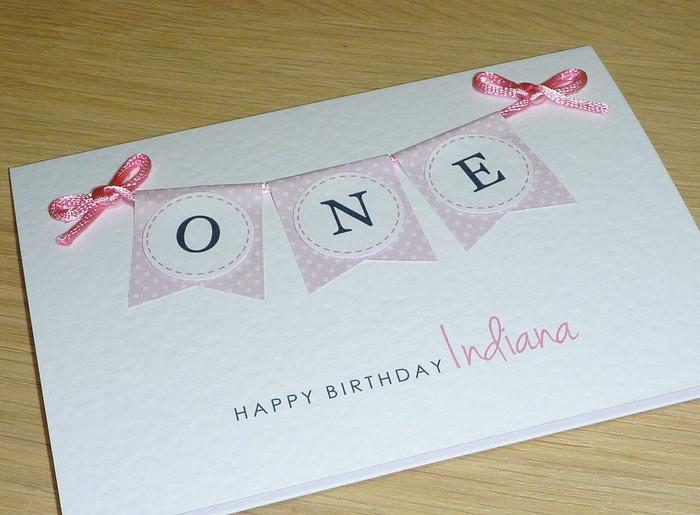 Girls 1st Birthday Card Pink Or Purple Bunting One Vicki G