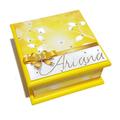 Elegance in Yellow Keepsake Memory Treasure Jewellery Trinket Wooden Box