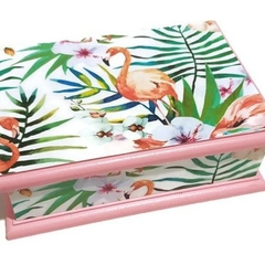 Tropical Flamingo Keepsake Trinket Treasure Jewellery Memory Wooden Box Pink