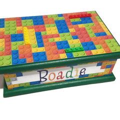 Colourful Lego Building Blocks Keepsake Trinket Treasure Memory Wooden Baby Box