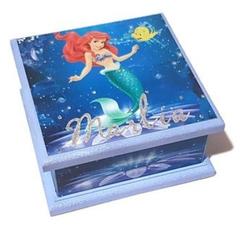 Ariel Theme Keepsake Memory Trinket Treasure Jewellery Wooden Box
