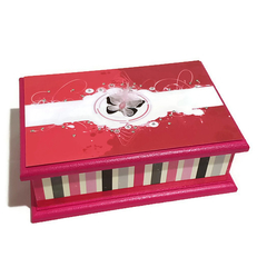 Hot Pink, White & Black Butterfly Keepsake Memory Trinket Jewellery Wooden Box