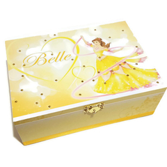 Princess Belle Keepsake Memory Trinket Treasure Jewellery Wooden Box Yellow