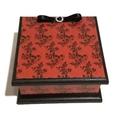 Classy Goth Red Skulls & Roses Keepsake Memory Jewellery Trinket Wooden Box