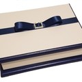Classic White & Navy Keepsake Trinket Treasure Jewellery Memory Wooden Box