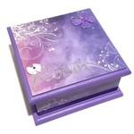 Purple Butterfly Keepsake Memory Trinket Jewellery Treasure Wooden Box