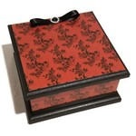 Classy Goth Red Skulls & Roses Keepsake Memory Jewellery Trinket Wooden Box