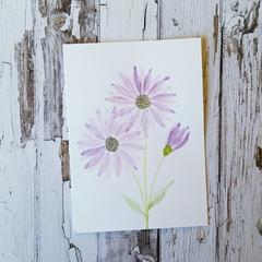 Blank card - Hand painted Purple Daisy