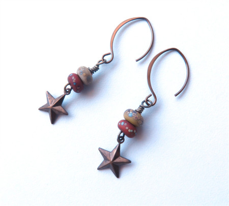 Speckle glass and star antiqued brass earrings