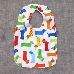 baby bib - sausage dogs / organic cotton and hemp fleece