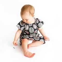 dress - sunflower / organic cotton peasant-style / eco friendly / girl 1 year