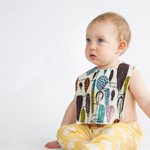 baby bib - feathers / organic cotton and bamboo towelling