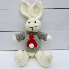 Billie the Hand Knitted  Bunny Rabbie Toy with cute Bunny Jumper/Sweater
