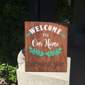 Personalised Welcome Family Wood Sign, Custom made with family, names & date