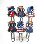 World Owl Planner Clip Set of 6 - Pins -Planner Clips - Aussie -USA - UK