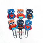 Super Hero Owl Planner Clip Set of 6 -Journal Clips -Planner Clips - school