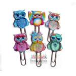 Girly Owl Planner Clip Set of 6 - Glitter Owl Planner Clips -  School Clips