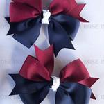Bella 'Stylish' School Pinwheel Bows (2) -  Custom Made in school colors