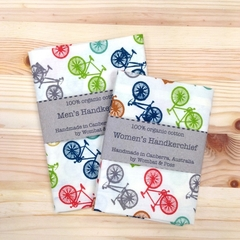 Handkerchief - bicycles / large 35x35cm / organic cotton / zero waste