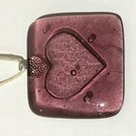 Embossed Fused Glass Gift Tag - Pink