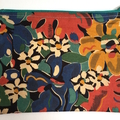 BUSHFIRES Red blue green yellow floral Liberty print denim clutch