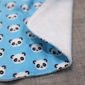 baby bib - pandas / organic cotton and hemp fleece