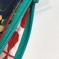 BUSHFIRES Red blue green yellow floral Liberty print denim clutch
