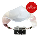 Ivory and Baby Blue Silk Scarf Camera Strap – soft, pastel colours, photography