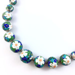 Handcrafted polymer clay necklace- Blue and green Monet floral