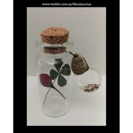 WISH BOTTLES- with four leaf clover and rose bud