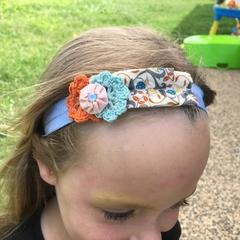 Girls headband in orange, pink and blue