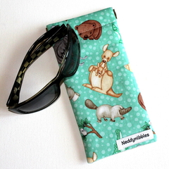 Padded Sunglasses Pouch in Cute Australian Animal Fabric