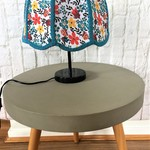 Blue lampshade, fabric, ceiling, retro scalloped edged with aqua blue braiding.