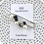 Handcrafted wrap or knitwear pin brooch-black and clear crystals