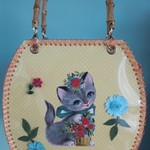 Vintage inspired kittens and flowers bag