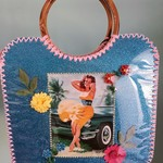 Handcrafted vintage  inspired kitsch basket/bag