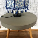 Gorgeous royal blue and white lampshade with blue and white lace fringe tassels